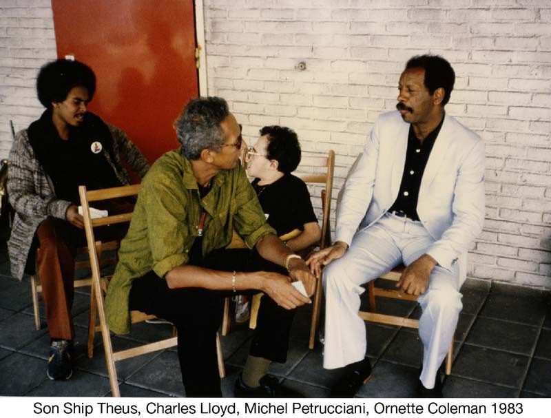 "Woody ""Sonship"" Theus, Charles Lloyd, Michel Petrucciani, Ornette Coleman in 1983 (photo courtesy of ECM Records)"