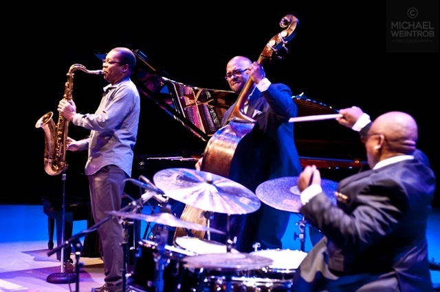 Ravi Coltrane, Christian McBride, Ralph Peterson, Jazz for Obama concert, NYC, 10-12