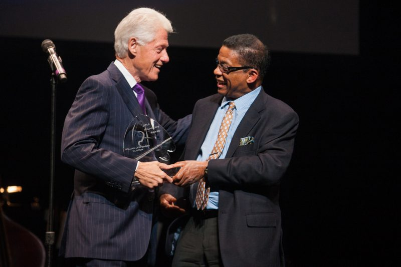 Former President Bill Clinton accepts the Thelonious Monk Institute's Marie Fisher Founder's Award, November 2014