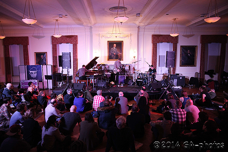 EYEBONE performs at NYU Law, NYC Winter Jazzfest 2014. From left: Teddy Klausner, Nels Cline and Jim Black