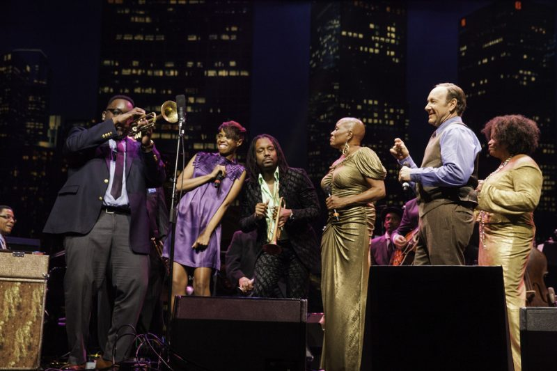 2014 Monk Competition Gala finale (L to R): Herbie Hancock, Competition winner Marquis Hill, Kellylee Evans, Dontae Winslow, Dee Dee Bridgewater, Marcus Miller (in rear), Kevin Spacey, Dianne Reeves
