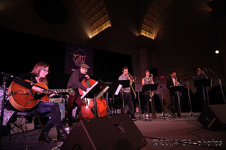 The Mary Halvorson Septet performs at Judson Church, NYC Winter Jazzfest 2014. Seen here, from left: Halvorson, John Hébert, Jacob Garchik, Ingrid Laubrock, Jon Irabagon and Jonathan Finlayson