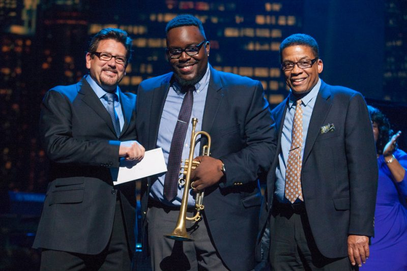 L to R: Concord Music Group chief creative officer John Burk, 2014 Monk Competition winner Marquis Hill and Herbie Hancock