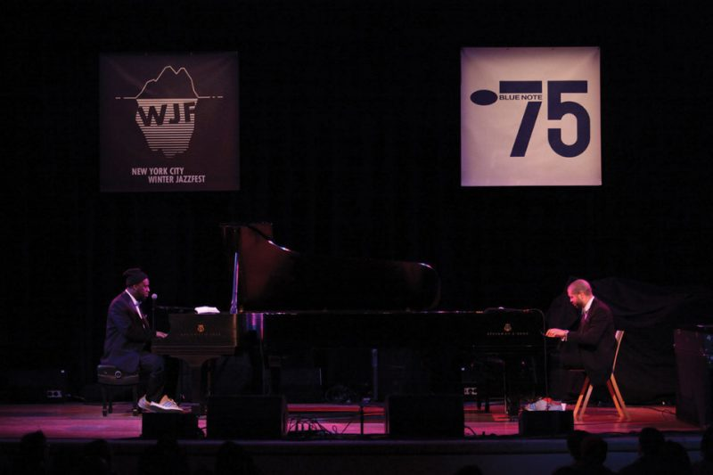 Robert Glasper (left) and Jason Moran at the Winter Jazzfest, Town Hall in NYC, Jan. 2014