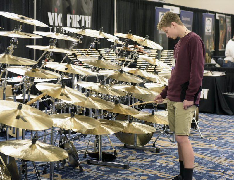 Cymbal exhibit at the Jazz Education Network conference, San Diego, 1-15