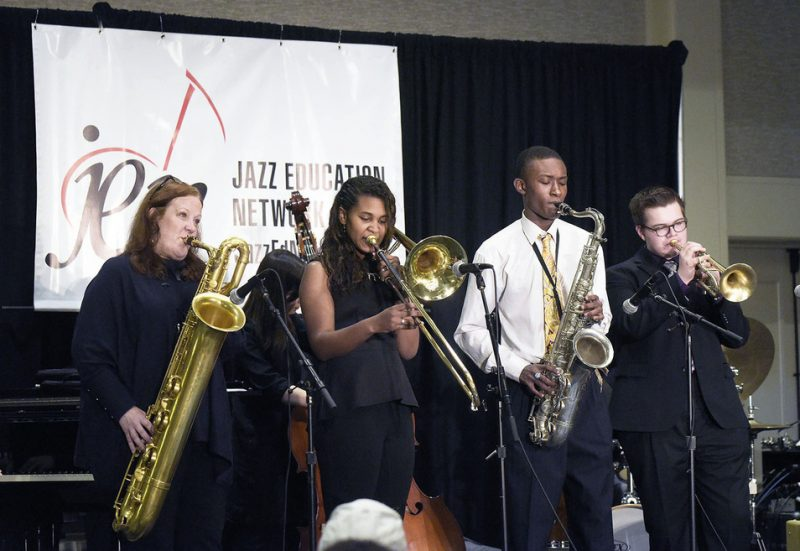 Claire Daly (left) with the Thelonious Monk National Performing Arts Highs School Peer-to-Peer All Star Septet, Jazz Education Network conference, San Diego, 1-15