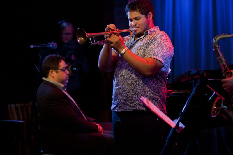 "Arturo (left) and Adam O'Farrill perform in the pianist's ""Boss Level"" Septet; SubCulture, NYC Winter Jazzfest, Jan. 9, 2015"