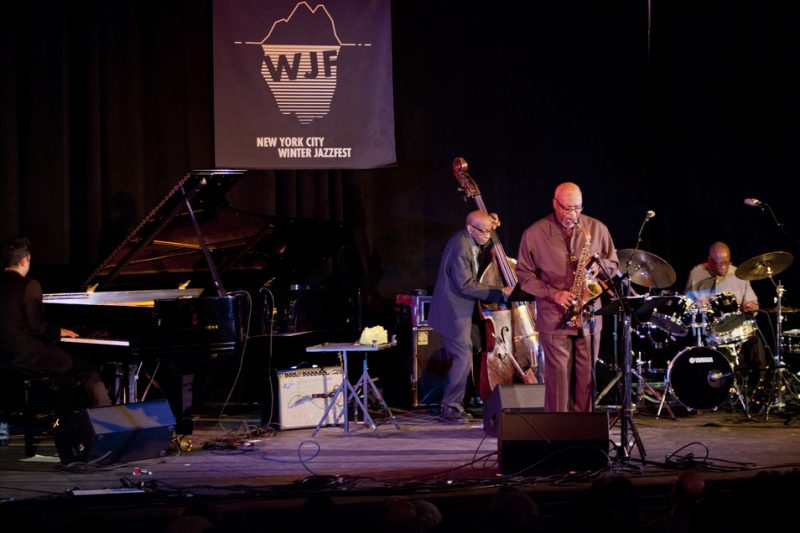 Special guest Vijay Iyer (piano) and TRIO 3 (Reggie Workman, Oliver Lake and Andrew Cyrille, from left) perform at the Minetta Lane Theatre as part of NYC Winter Jazzfest; Jan. 9, 2015
