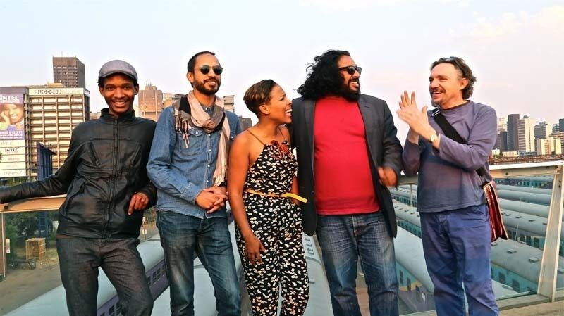 Mandla Mlangeni, Kyle Shepherd, Melanie Scholtz, Kesivan Naidoo, Carlo Mombelli (l. to r.), Johannesburg, Sept. 2014