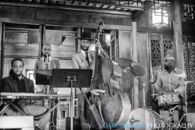 Ben Williams & Sound Effect: Williams (bass), John Davis (drums), Victor Gould (keys), Marcus Strickland (saxophone) at Jazz & Colors, Metropolitan Museum of Art, NYC 1-15 (Not seen: guitarist Matt Stevens)