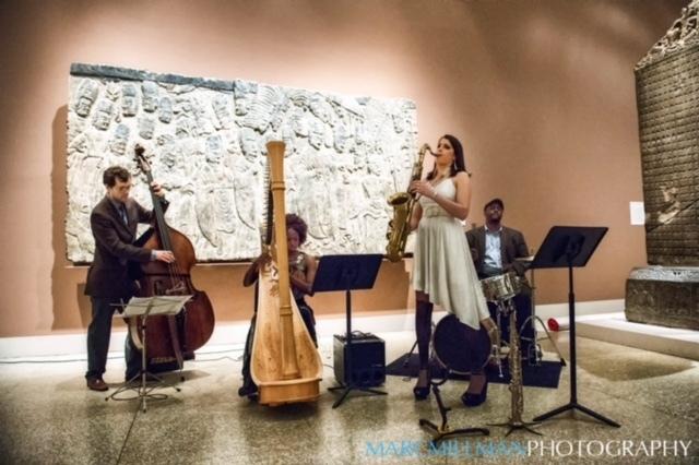 Brandee Younger Jazz Harp Quartet: Younger (harp), Chris Beck (drums), Chelsea Baratz (tenor sax), Matt Dwonsyk (bass) at Jazz & Colors, Metropolitan Museum of Art, NYC 1-15