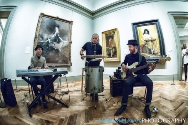 Mino Cinelu's World Jazz Trio: Cinelu (drums, vocals), Jesse Fisher (keys, vocals), David Cutler (bass, vocals), Jazz & Colors, Metropolitan Museum of Art, NYC 1-15