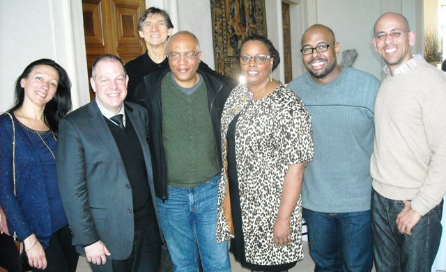 Russ Davis with the judges and hosts at the American Pianists Association Jazz Fellowship competition L to R: Amina Figarova, Bill Charlap, Russ Davis, Billy Childs, Dianne Reeves, Christian McBride and Ed Simon