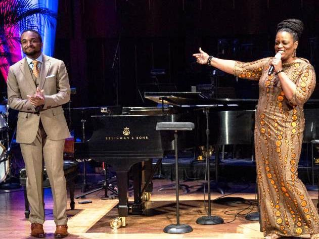 Dianne Reeves with Sullivan Fortner, winner of the 2015 American Pianists Association Jazz Fellowship competition