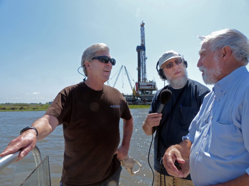 From left, Bob Marshall, Fred Kasten interview LSU researcher Gene Turner