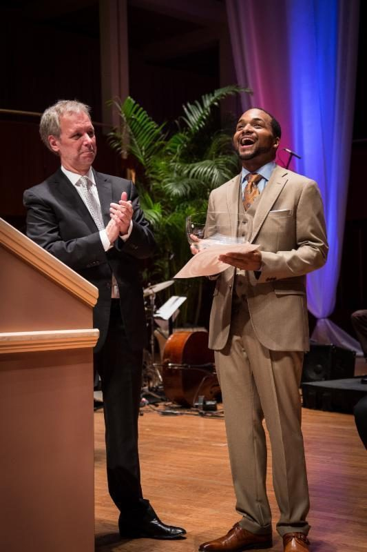Joel Harrison, American Pianists Association, (left) with  2015 Cole Porter Fellow Sullivan Fortner (right)