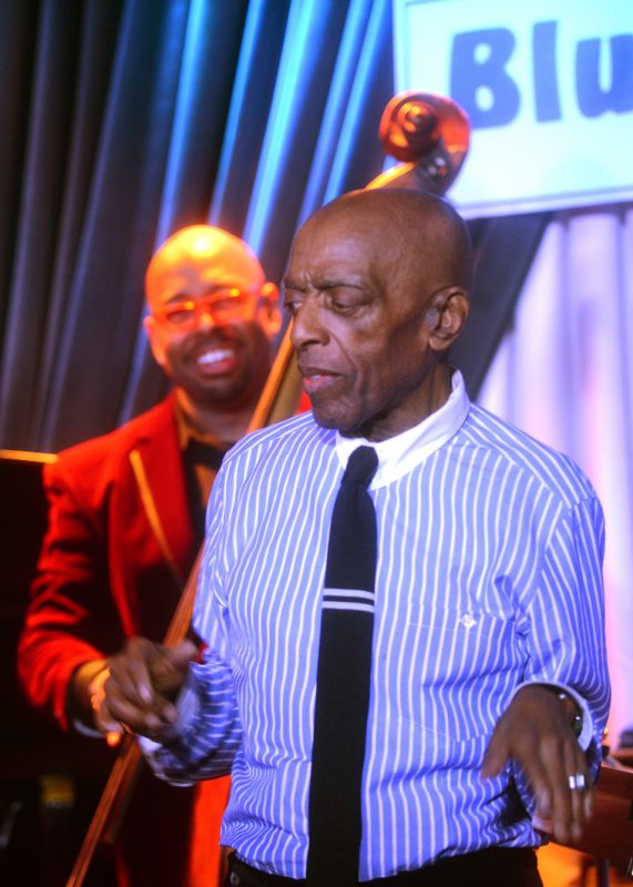 Roy Haynes (right) with Christian McBride at the Blue Note, NYC, 3-15
