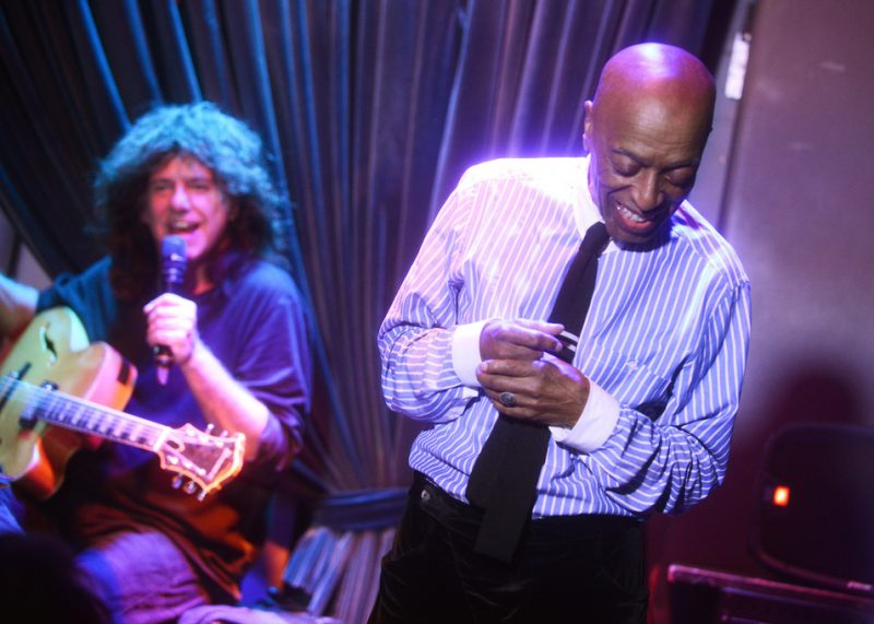 Roy Haynes (right) with Pat Metheny at the Blue Note, NYC, 3-15