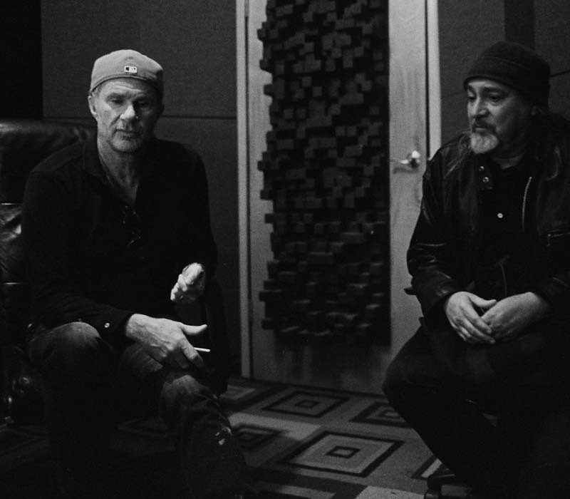 "Chad Smith and Bill Laswell during sessions for ""The Process"""