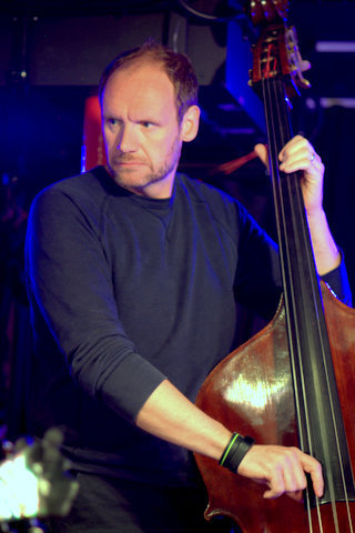 Bassist Mark Hodgson in performance with Ed Cherry Quartet at Pizza Express in London