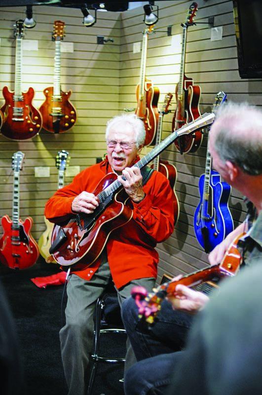 John Pisano at the Eastman Guitars booth, Winter NAMM 2015