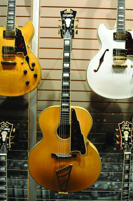 D'Angelico's EX-63 archtop guitar (center) an 2015 NAMM Show