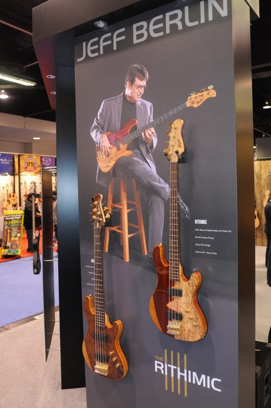 "Jeff Berlin's signature Cort ""The Rithimic"" basses on display"