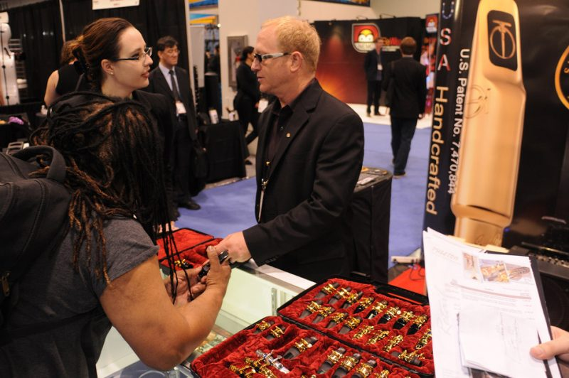 Jody Espina holds down the fort at his JodyJazz mouthpieces booth, NAMM Show 2015