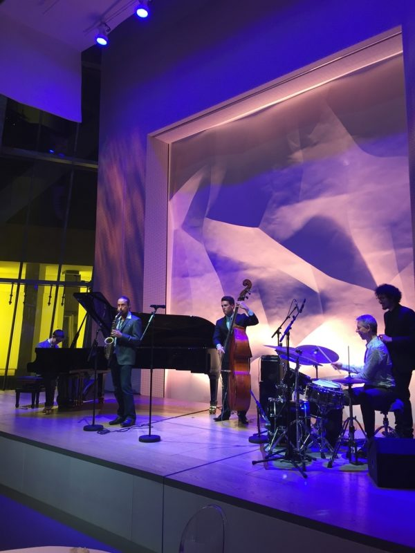 Pianist Justin Kauflin, bassist Alex Boneham and others perform at the International Jazz Day after-party at the Louis Vuitton Foundation, International Jazz Day, Paris, April 2015