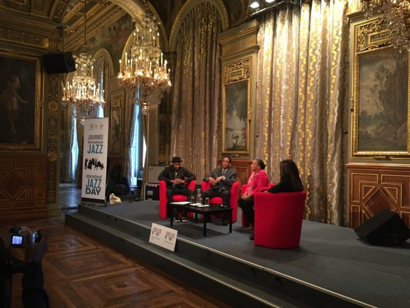 Herbie Hancock, Marcus Miller and French Minister of Justice Christiane Taubira in a panel discussion, International Jazz Day, Paris, April 30, 2015