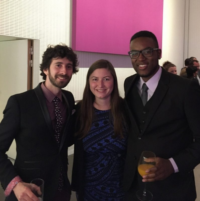 (left to right) Clarinetist Oran Etkin, pianist Carmen Staaf and vocalist Michael Mayo at the International Jazz Day after-party at the Frank Gehry-designed Louis Vuitton Foundation, Paris, April 2015
