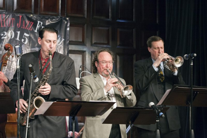 Dan Levinson, Jon-Erik Kellso and Charlie Caranicas (from left) at the 2015 New York Hot Jazz Festival; the Players Club, May 3