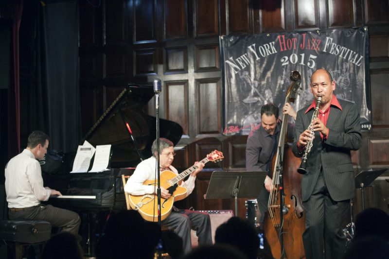 New Orleans clarinet virtuoso Evan Christopher with pianist Ehud Asherie, guitarist James Chirillo and bassist Neal Caine at the 2015 New York Hot Jazz Festival; the Players Club, May 3