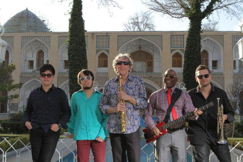 Matt Young, Roberto Verastegui, Bob Belden, Jair-Rohm Parker Wells and Pete Clagett at Abbasi Hotel, Isfahan, Iran