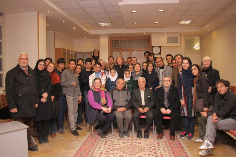 Music school in Isfahan, Iran, 2015: at far left is Farzin Pirouzpay (host). Far right is Mehdi Afrach (tour guide). In between are musicians, students and parents