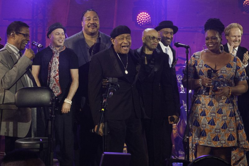 Performers at the International Jazz Day host city concert, Paris, April 30, 2015. Among those pictured are Herbie Hancock, Al Jarreau, Dee Dee Bridgewater and Dianne Reeves.
