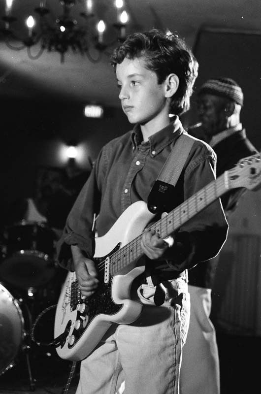 Young Julian Lage, playing his Stratocaster