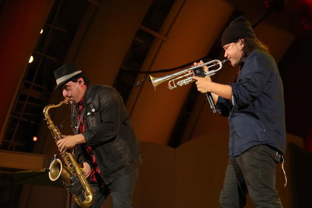 Ozomatli saxophonist Ulises Bella and trumpeter Asdrubal Sierra, Playboy Jazz Festival, 2015