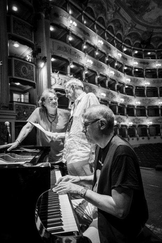 Tullio De Piscopo, Massimo Moriconi, Danilo Rea, sound check, Umbria Jazz Festival 2015