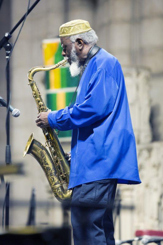 Pharoah Sanders performs at Ornette Coleman's funeral at the Riverside Church in NYC; June 27, 2015