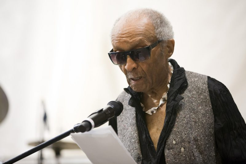 Cecil Taylor reads poetry at Ornette Coleman's funeral at the Riverside Church in NYC; June 27, 2015