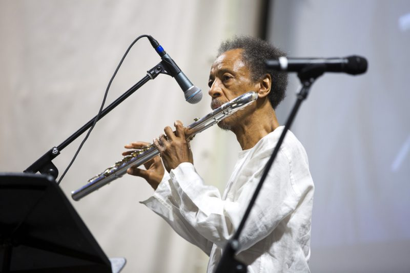 Henry Threadgill performs at Ornette Coleman's funeral at the Riverside Church in NYC; June 27, 2015