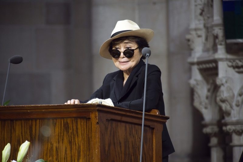 Yoko Ono speaks at Ornette Coleman's funeral at the Riverside Church in NYC; June 27, 2015