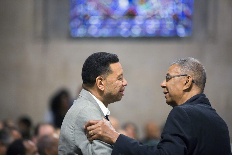 Denardo Coleman (left) and Jack DeJohnette at Ornette Coleman's funeral at the Riverside Church in NYC; June 27, 2015