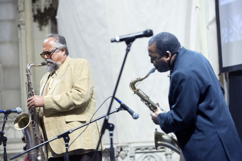 Joe Lovano (left) and David Murray perform at Ornette Coleman's funeral at the Riverside Church in NYC; June 27, 2015