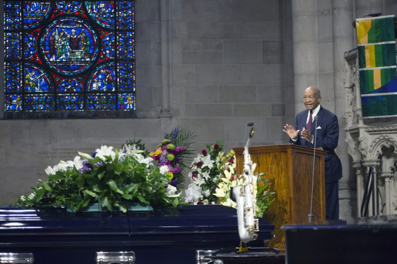 The Rev. Dr. James A. Forbes Jr. delivers the eulogy at Ornette Coleman's funeral at the Riverside Church in NYC; June 27, 2015