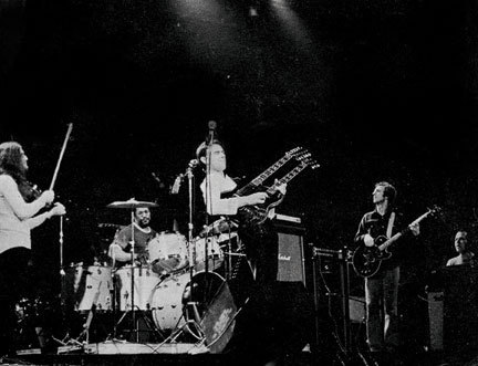 Mahavishnu Orchestra's first publicity photo, 1972: Jerry Goodman, Bill Cobham, John McLaughlin, Rick Laird and Jan Hammer (from left). Courtesy of Jawbone Press