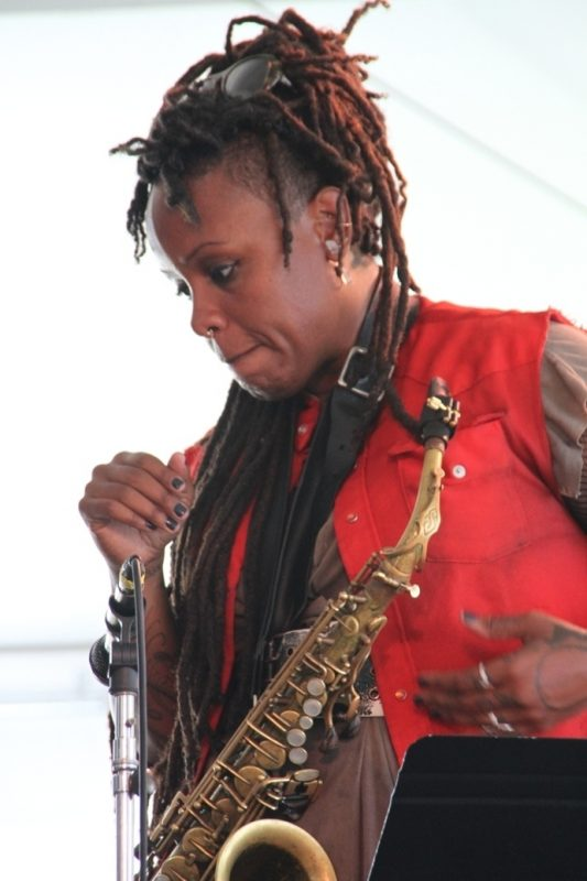 Saxophonist Matana Roberts performed with her band Coin Coin at the 2015 Newport Jazz Festival