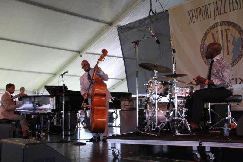 Bassist Christian McBride's trio with Christian Sands and Ulysses Owens at the 2015 Newport Jazz Festival