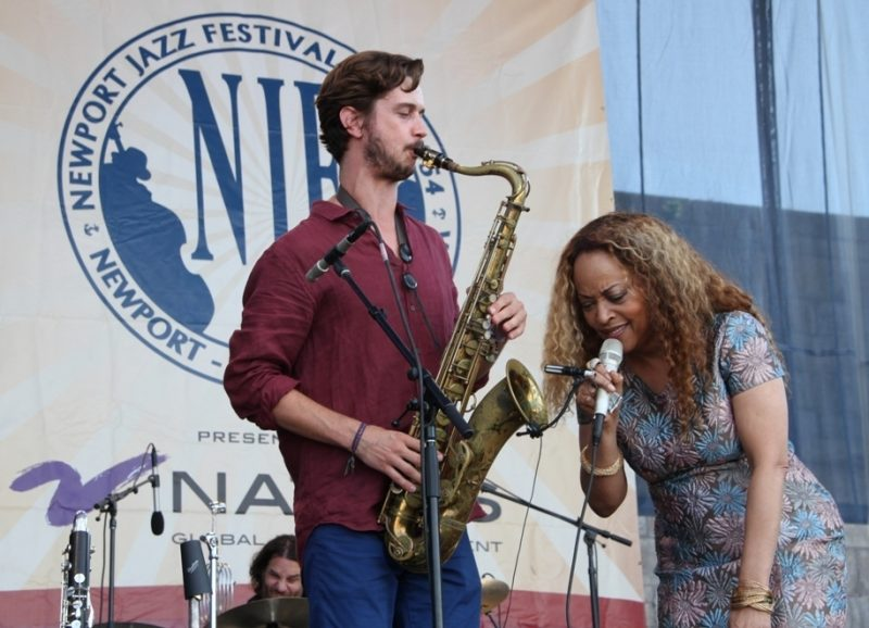 Cassandra Wilson and saxophonist Robby Marshall at the 2015 Newport Jazz Festival
